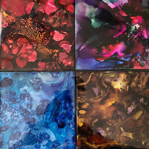 Set of 4 ceramic coasters, Mixed colors