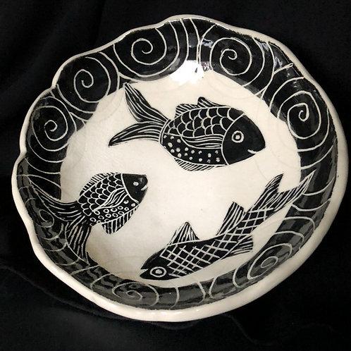 Sgraffito fish bowl