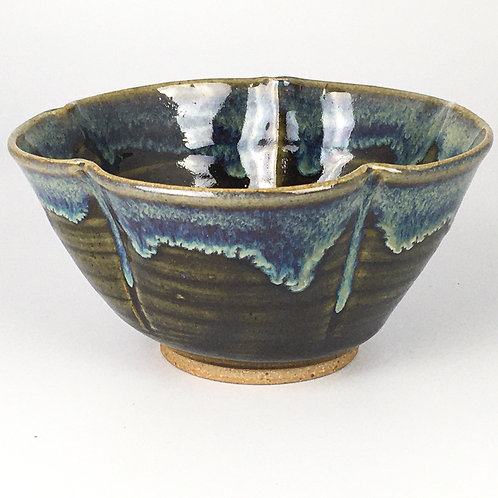 Fluted Bowl-dk green and blue