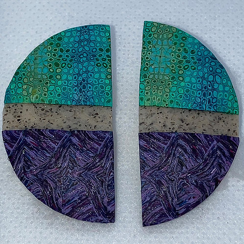 Teal and purple caned earrings
