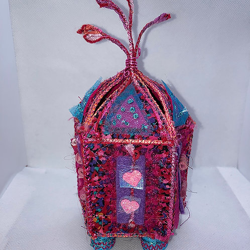 Textile treasure box in hot colors