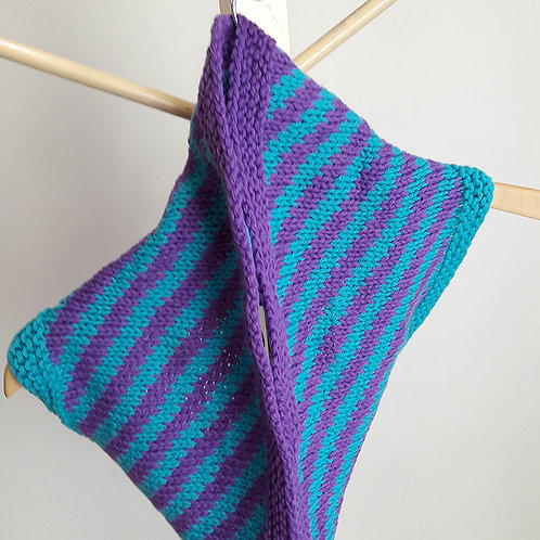 Turquoise and Purple Circular Cowl
