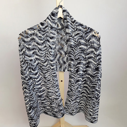 Black/Gray/White Rectangular Lace Shawl