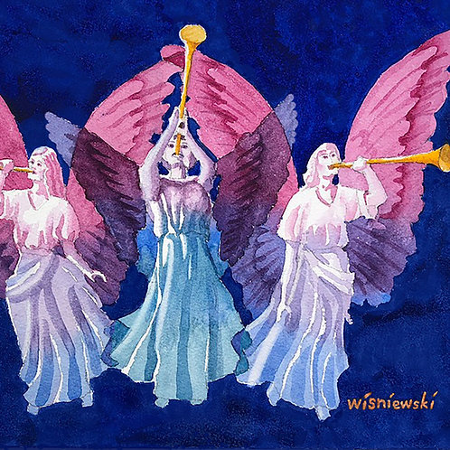 """""""Trumpeting Angels"""" Christmas Cards"""
