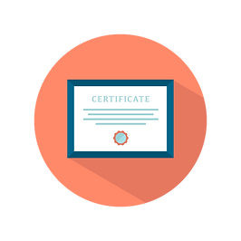 Certificate Icon on Red background