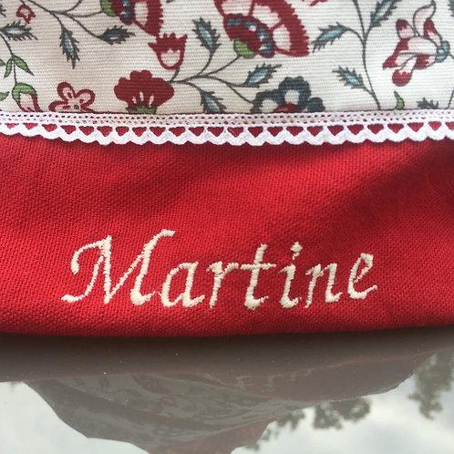 Panier MARTINE fleuri rouge