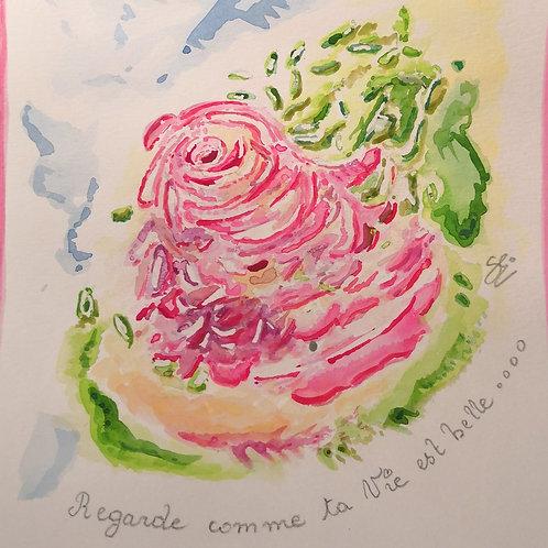 "Aquarelle ""Ta Vie est belle"""