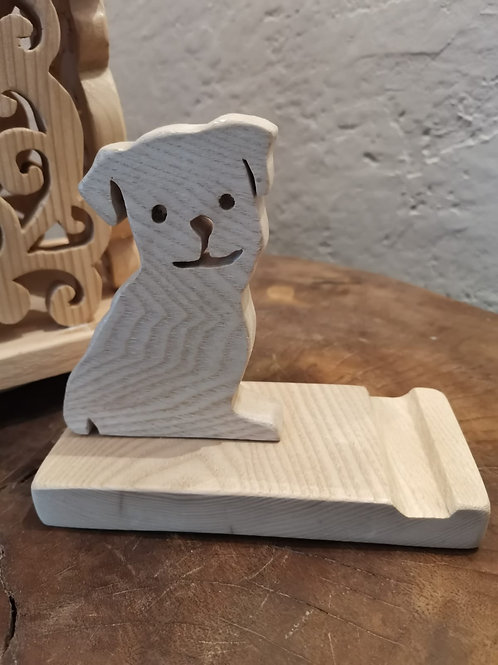 Support de téléphone Petit Chien en bois