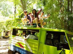 トラックの上に乗り島を一周するラウンドツアー