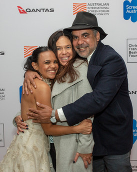 Group hug! Miranda Tapsell, Darlene Johnson & Wayne Blair at Australian International Screen Forum