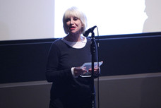 Jill Bilcock accepting a Pioneering Woman in Film Award at Australian International Screen Forum