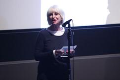 Jill Bilcock accepting a Pioneering Woman in Film Award at Australian International Screen Forum