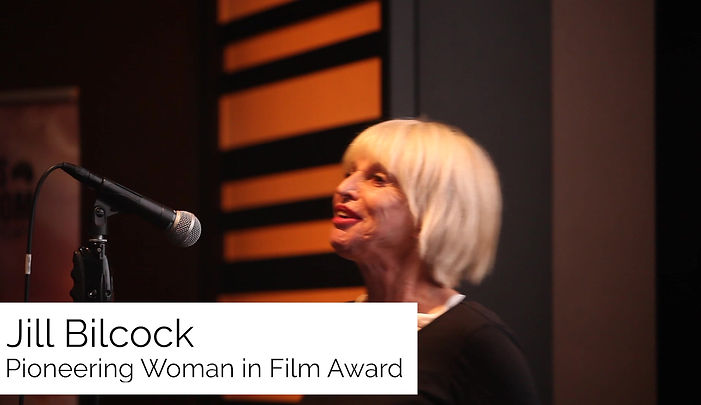 Jill Bilcock accepts the Pioneering Woman in Film Award