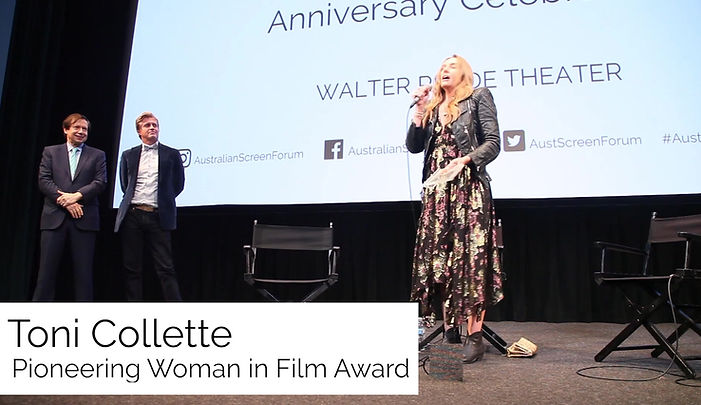 Toni Collette accepts the Pioneering Woman in Film Award