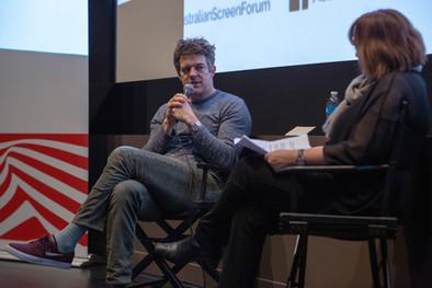Jason Blum with Jenny Cooney at the Australian International Screen Forum