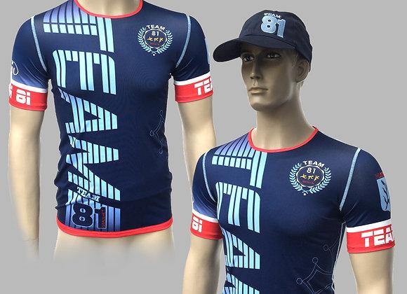 T-Shirt Course à Pied TEAM81 Version Bleu Foncé