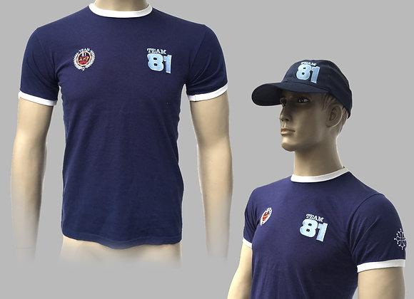 T-Shirt Manche Courte TEAM81 Version Bleu Foncé