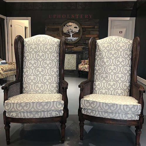 Pair of Vintage High Cane Wingback Chairs