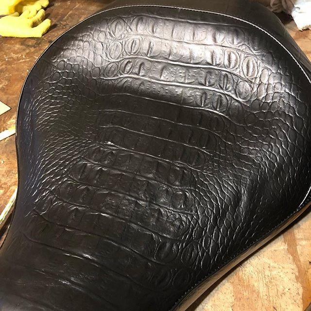 Crock enbossed leather motorcycle chair