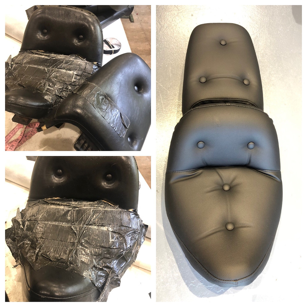 Motorcycle Seats Reupholstered fast by Familia Upholstery LLC