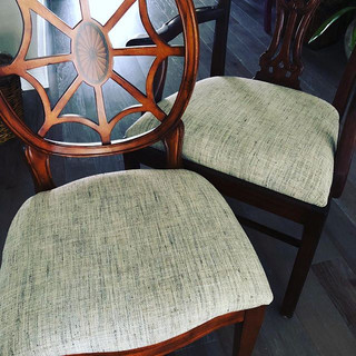 It's dinning chair reupholstery season!