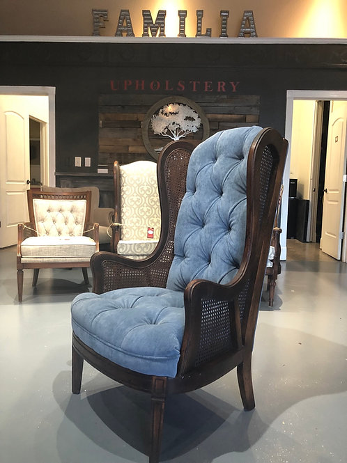 Vintage Cane Wingback Chair