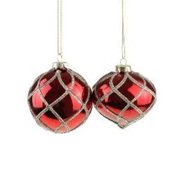 Glashänger, rot, verschiedene Formen