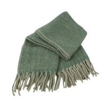 Mohair Decke, grün/grau
