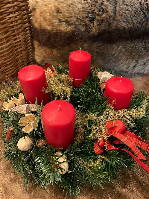 Adventkranz 1, Ø  27-30cm, verschiedene Kerzen