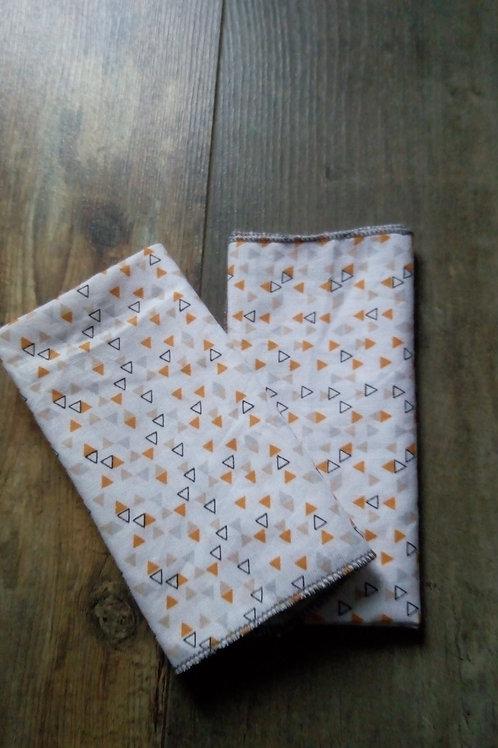 lot de 2 mouchoirs tissu triangles oranges