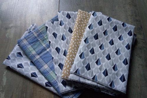 Lot de 6 mouchoirs Bleu 30x40cm
