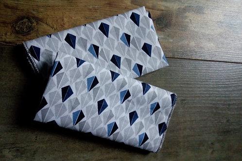 lot de 2 mouchoirs tissu OekoTex bleu