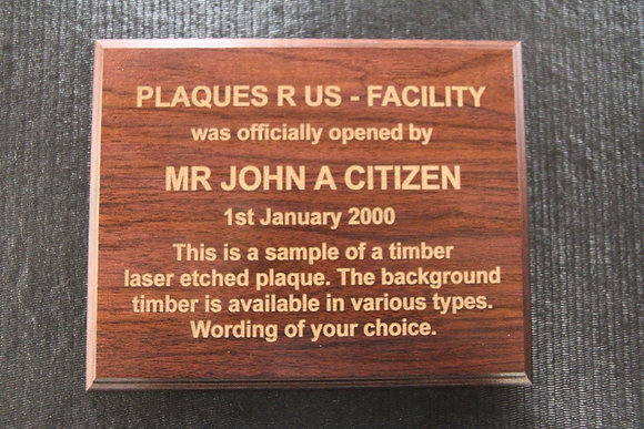 Timber laser etched plaque - 300mm x 200mm  ( A4 )