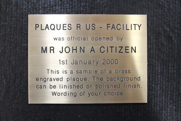 Brass Engraved Plaque - 150mm x 100mm ( A6 )