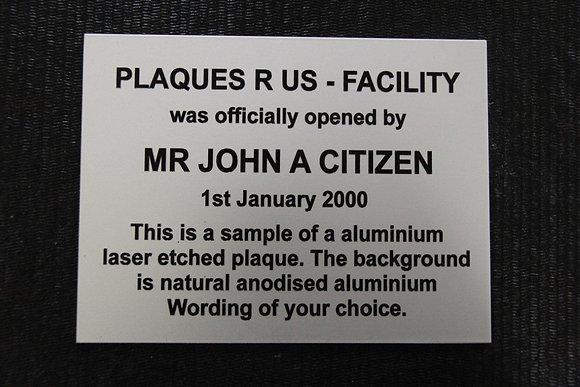 Aluminium Laser etched - 200mm x 150mm ( A5 )