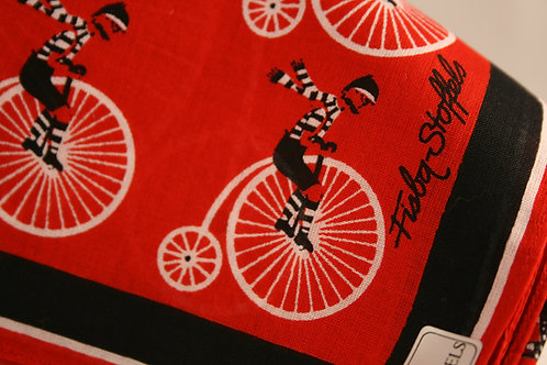 Scarf Penny Farthing Red Vintage Fisba Stoffels