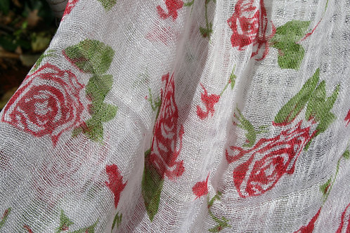 Rose Scarf Shawl Light Weight Open Weave