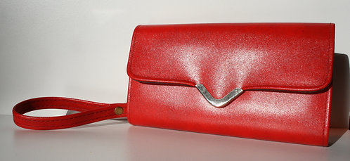 Red Purse Clutch Wristlet 1970s Retro