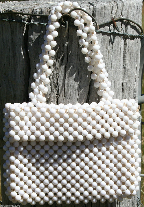 White Beaded Evening Bag Vintage 60s
