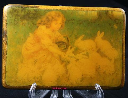 Girl Feeding Rabbits Wall Plaque Frederick Morgan