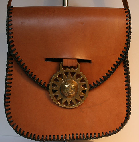 Vintage Saddle Bag Tan Leather Retro
