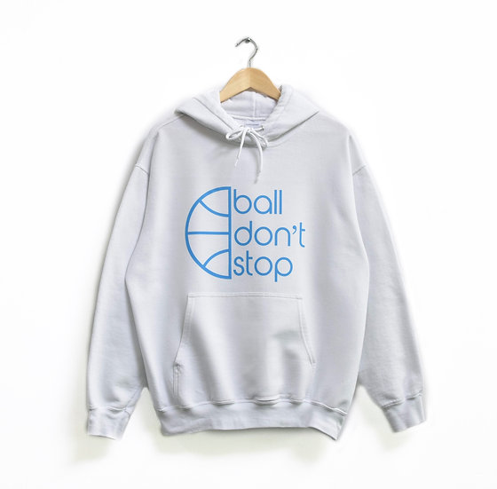 Ball Don't Stop Hoodie - White/Baby Blue