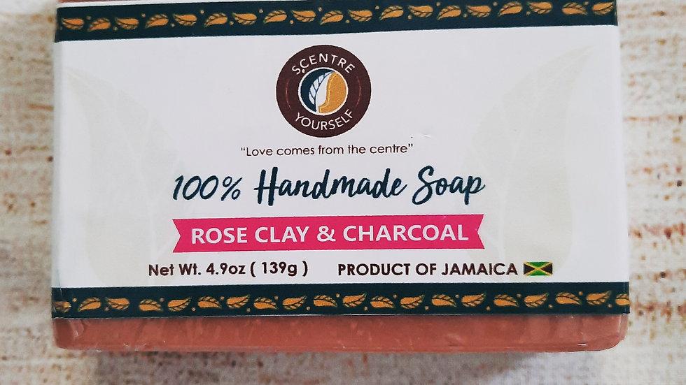 Natural 100% Handmade Soaps - Rose Clay & Charcoal