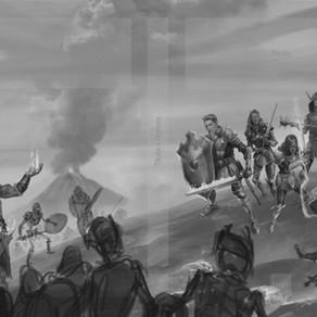 Evolução da capa (Panorâmica e planejamento dos inimigos orcs e zumbis)