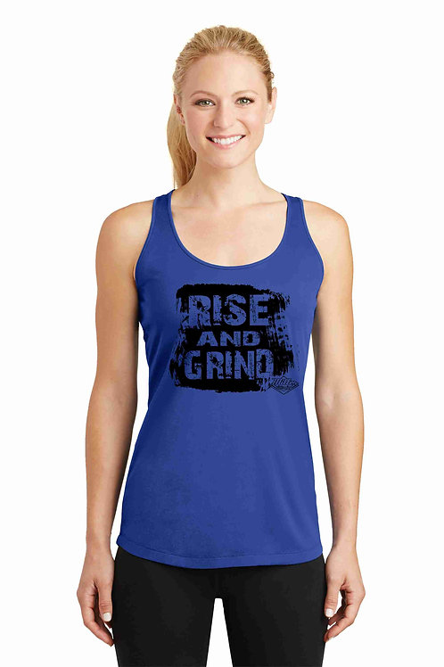Ladies Racer Back Tank - Rise and Grind