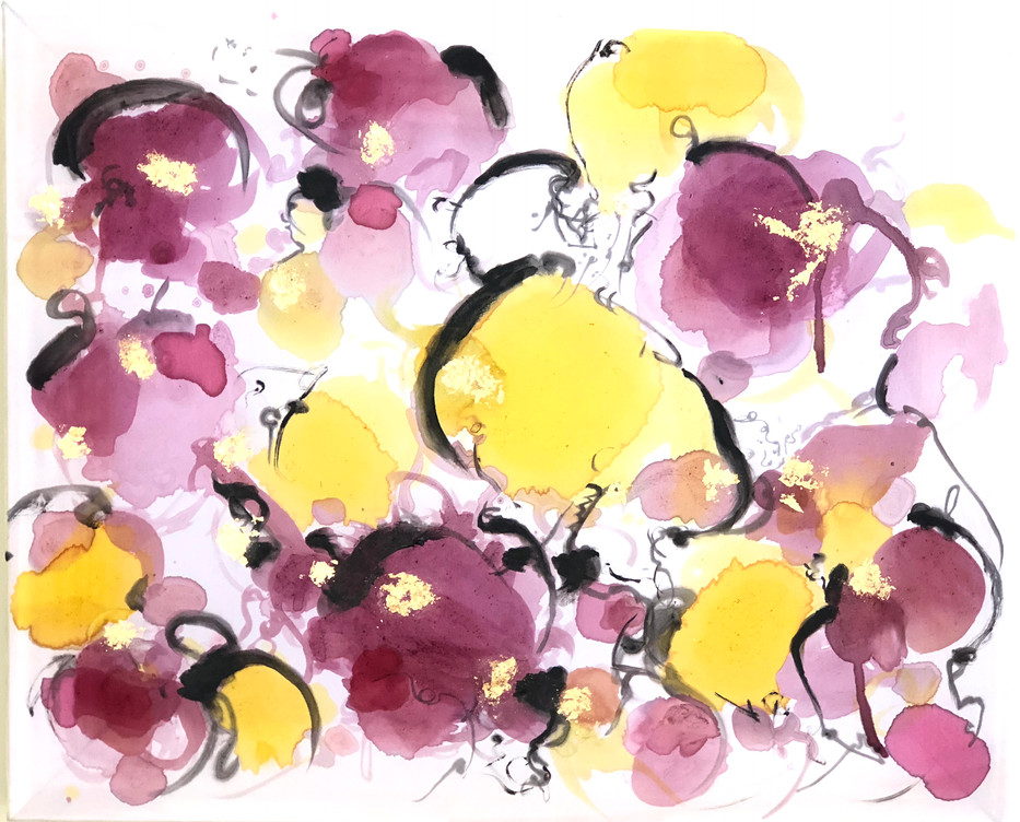 Hibiscus and Saffron on Silk
