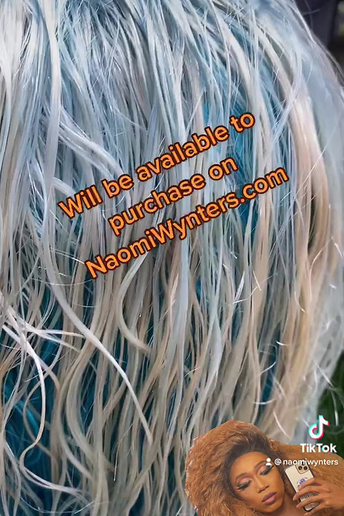 22 Inch Human Hair Ombre Blue Lacefront Wig