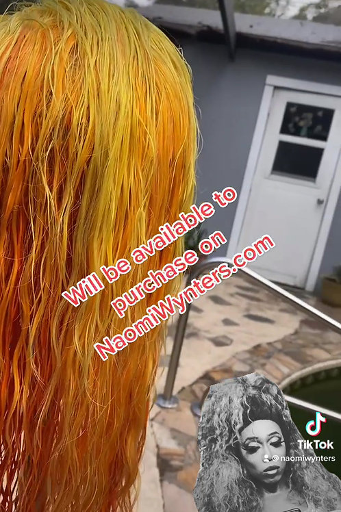 18inch Human Hair Yellow/Orange Ombre Lace front Wig