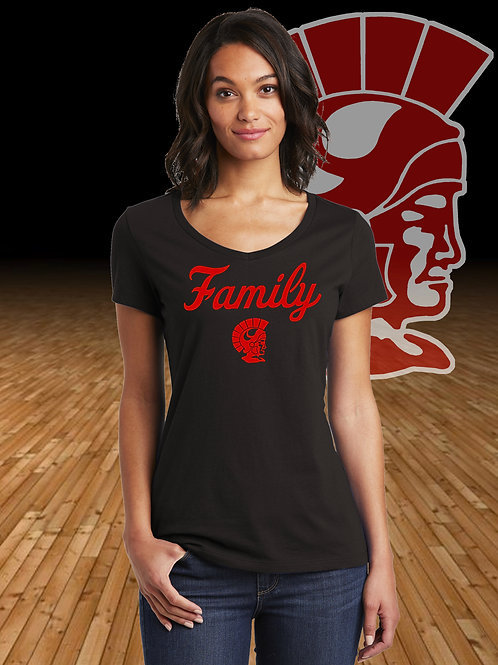Ladies V-Neck Trojan Family  T-Shirt