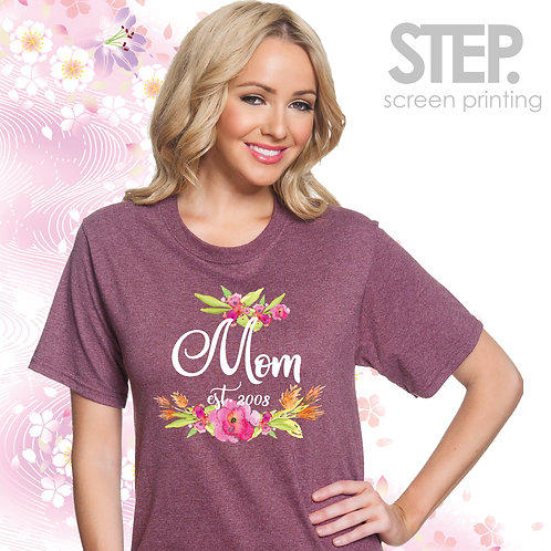 Personalized Floral Mom Tee